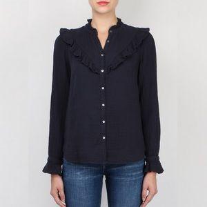 XiRENA | Blue Gauze Esmay Ruffle Shirt